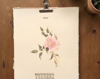 Wall hung Vintage Floral Letterpress 2018 Calendar