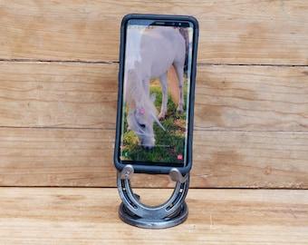 Horse Lover Gift, Cell Phone Holder, Holiday Gift for Him, Horseshoe Gift, Cell Phone Stand, Holiday Gift for Horse Lover