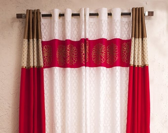 Fuschia Pink Silk And White Cotton Jacarde Curtains