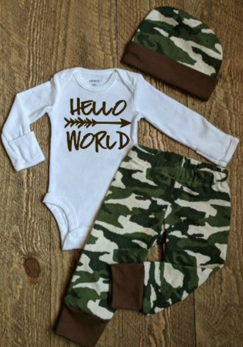 398a55a88 Hello world outfit Camo outfit Baby boy outfit Baby boy   Etsy