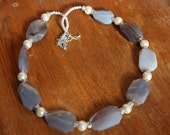 26 inch long Natural Grey Agate White Pearls 26 inch long Statement Necklace Free Shipping to USA Gift