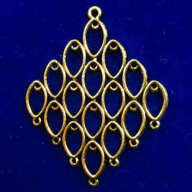 54mm  Tibetan Gold Rhombus Pendant Bead
