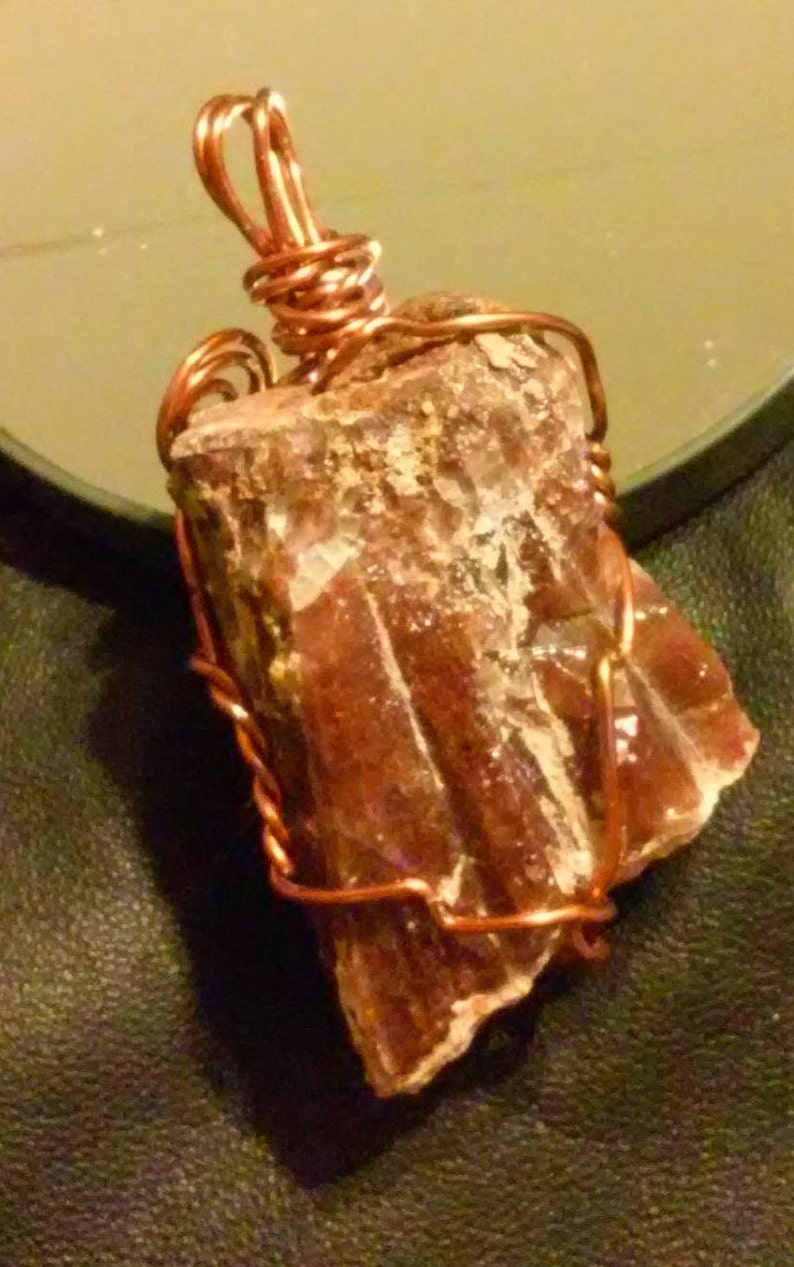 Natural Brown Calcite Raw Cut  Gemstone   Amber Wire Wrapped Pendant
