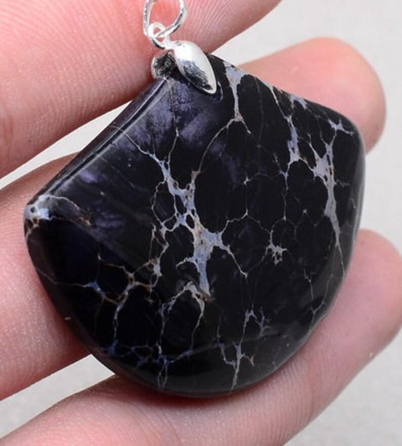 Black Sea Sediment Jasper Gemstone 925 Sterling Silver Pendant