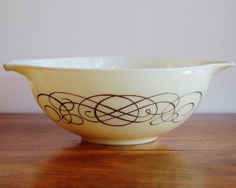 Pyrex Golden Scroll Bowl, Promotional Ivory Cream Gold No. 444 Cinderella Bowl, 4 Quart Mixing Bowl, Vintage Kitchen