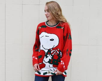 vintage snoopy christmas sweater unisex not so ugly christmas sweater oversized snoopy hugging woodstock holiday sweater