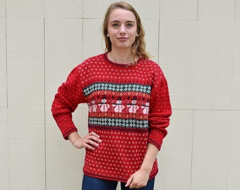 Snowman Snowflake Christmas Sweater, Vintage Red White Green Nordic Style Not so Ugly Christmas Sweater, Holiday Sweater