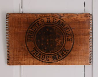 Procter & Gamble Logo Wood Crate Side, Bearded Man Crescent Moon and Stars, 1882 P and G Logo, Rustic Wood Decor, Antique Trademark