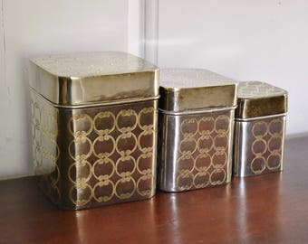 Brass Kitchen Canister Set, Art Deco White Yellow Nesting Solid Brass Kitchen Storage, Square Engraved Etched Chrome Silver Metal Canisters