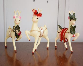 Set of 3 Decorated White Celluloid Reindeer, Mid Century Christmas Decor Deer Figurines, Holiday Woodland Decor, Kitsch Reindeer Japan