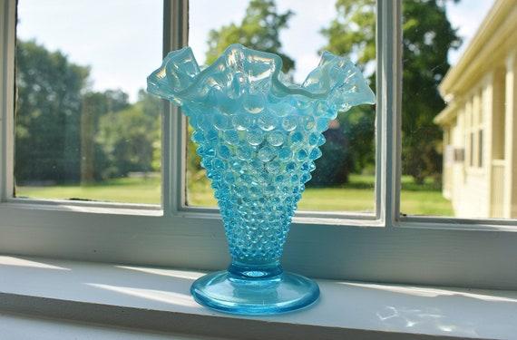 Fenton Blue Opalescent Glass Hobnail Trumpet Vase 55 Inch Etsy
