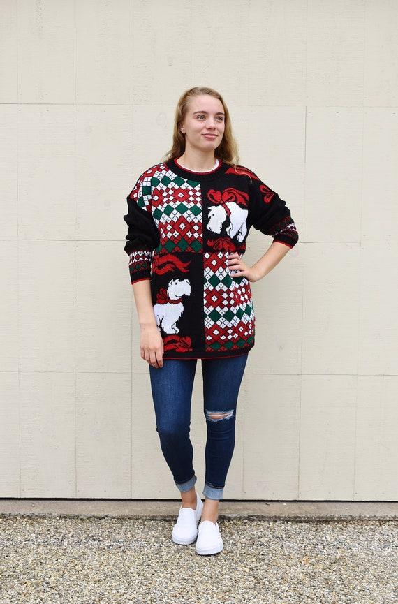 Vintage Scottie Dog Christmas Sweater, Unisex Not
