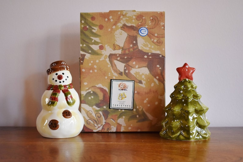Ceramic Snowman And Tree Salt Pepper Shakers Hand Painted Glazed Shaker Pots Rustic Farmhouse Christmas Table Winter Holiday Dining