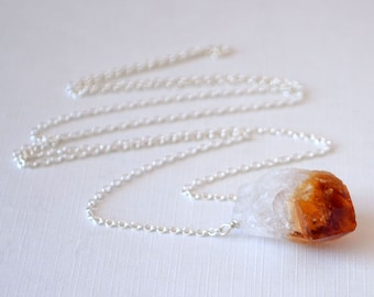 Raw Citrine Necklace, Silver Plated Chain, November Birthstone, Real Gemstone Jewelry - Design Your Own