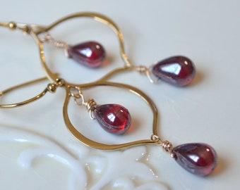 Ruby Red Earrings, Dangle Earrings, Glass Chandeliers, Dark Teardrop Beads, Wire Wrapped, Gold Bronze, July Birthstone Jewelry