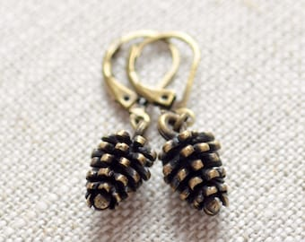 Cute Pine Cone Earrings, Autumn Jewelry, Antiqued Brass, Leverback Earwires, Fall, Woodland Wedding, Dark Bronze