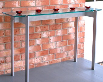 """Hall Table - 16"""" x 42"""" x 30"""" high with 12"""" x 48"""" x 1/2"""" thick glass top"""