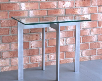 """End Table - 16"""" x 26"""" x 22"""" high with 16"""" x 26"""" x 1/2"""" thick glass top"""