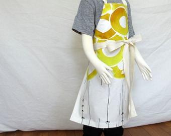 Sunny kid apron - children's apron abstract yellow flower print