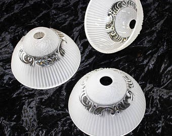 """Chandelier Lamp Parts ~ Elegant 6 1/2"""" x 4"""" Frosted White & Clear Ribbed GLASS SHADE 15 Dollars each"""