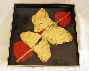"""Hand Made 14"""" Wood TRAY ~ Philip Marro ~ Hand Painted Ginko Leaf Design ~ Red, Black Lacquer Gold Leafing, Signed Dated ~ Home Decor ~ Ooak"""