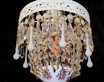 "Petite Vintage 8""x 14"" Czech. White OVERLAY Basket Pendant CHANDELIER Bohemian Overlay ~ White CRYSTAL Accents ~ Home & Living ~ Lighting"