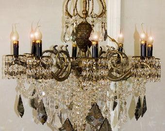 "Lighting Chandeliers 29"" x 36"" Vintage CRYSTAL BRASS 8 Light CHANDELIER ~ Silver Black Crystal Accents ~ 1 0f a kind Lighting ~Home & Living"
