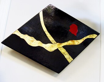 ART & COLLECTIBLES ~ Original Painting ~ Wood,  Bold Red, Deep Rich Black Lacquer ~Gold Leafing, ~ Signed and Dated Philip Marro