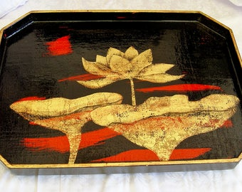 """Hand Made """" Decorative Wood TRAY ~ Philip Marro ~ Hand Painted Lotus Leaf  Red, Black Lacquer Gold Leafing, Signed Dated ~ Home Decor ~ Ooak"""