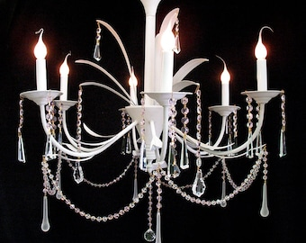 """Chandeliers Lighting Vintage 6 Light 28""""X 28"""" White WROUGHT IRON, Pink Bead and Crystal CHANDELIER ~ Home & Living"""