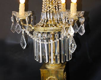 """Lighting ~ Exquisite Vintage 15"""" x 30"""" Italian 3 Light BRASS & CRYSTAL CANDELABRA Lamp ~ Home and Living ~ Lamps ~ Desk Lamps"""