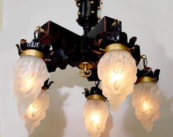"""23"""" x 27"""" Vintage 5 Light Gothic WOOD CHANDELIER /Frosted FLAME Shades Ooak Hand Painted Signed Marro Gold Leaf  Black Lacquer Home & Living"""
