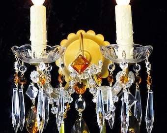 """Vintage 10"""" x 12""""  Italy MARIA THERESA 2 Light Crystal Sconce Amber Crystal Accents"""