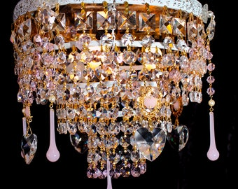 """Chandeliers Lighting 10"""" x 11"""" VINTAGE Flush White Washed BRASS CRYSTAL 3 Light Chandelier ~ Pink Crystals ~ Home and living  1 of a Kind"""