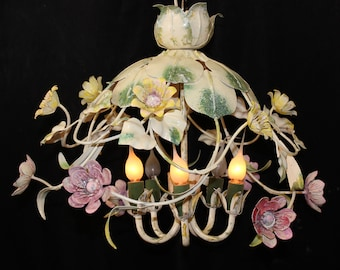 """Chandeliers Lighting Vintage Italian TOLE 22""""x 14"""" CHANDELIER 5 Lights with Multi Colored FLOWERS ~ Home and living"""