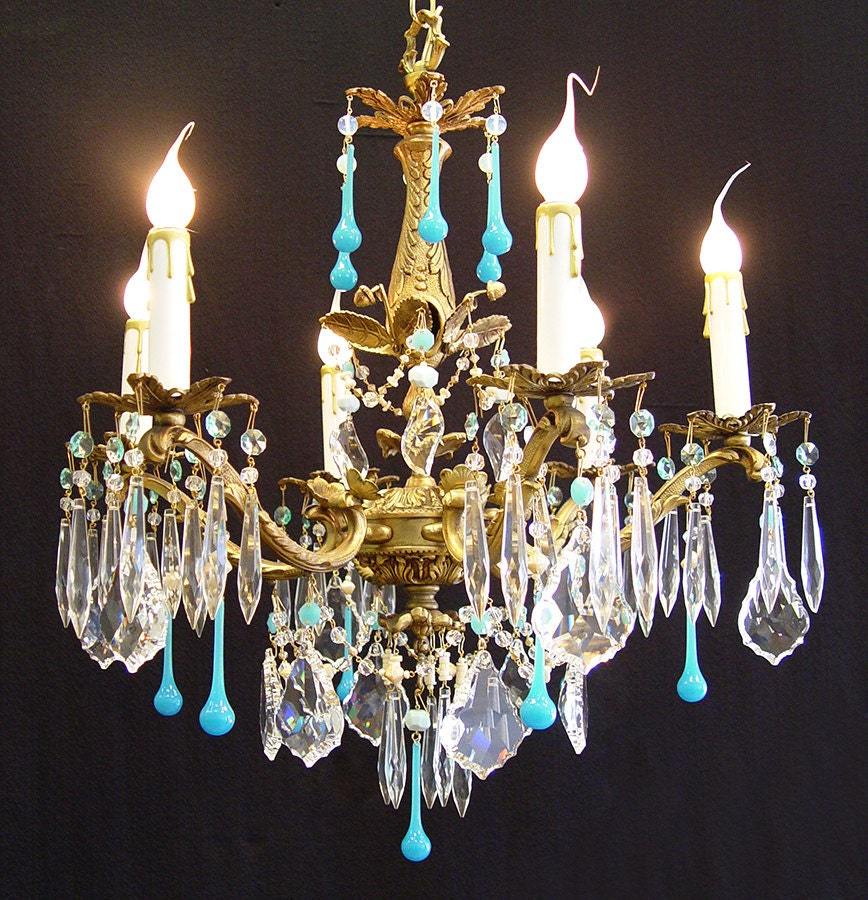 Chandeliers Vintage 6 Light 18x 24 Ornate Bronze Crystal Chandelier Turquoise Robins Egg Blue Crystals One Of A Kind Home Living