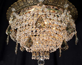 """Chandeliers Lighting 15"""" x 10"""" Ornate VINTAGE Flush BRASS CRYSTAL 4 Light Chandelier ~  5 Tiers ~ Smoke Crystal Accents ~ Home and living"""