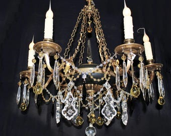 """Chandeliers Lighting Breathtaking! 25""""x 27"""" VINTAGE 6 light Spanish BRASS Chain Link CHANDELIER Amber Crystal Custom Dressed Home and Living"""