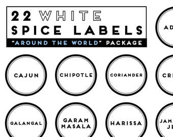 AROUND THE WORLD package with 22 white round precut printed labels