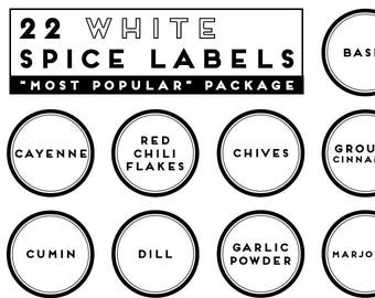 MOST POPULAR SPICES package with 22 white round precut printed labels