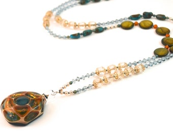 Glass & Turquoise Beaded Necklace