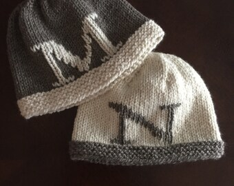 Hand-knit Letter Hat