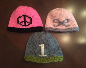 Hand-Knit Hat with Icon