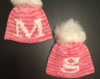 Hand-knit Cotton infant hat with faux fur pom