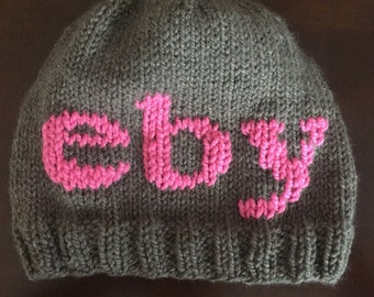 Hand-knit Monogram Beanie -  3 initials