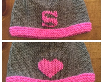 Hand knit Double-sided Letter & Heart Hat