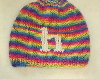 Hand-knit Rainbow Letter Hat with or without Faux Fur pom pom