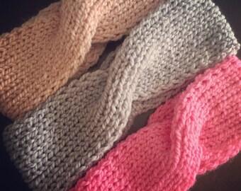 Hand-knit Ear warmer/headband in 100% merino wool