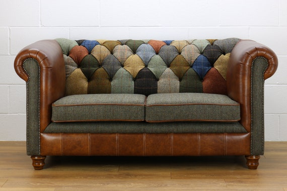 Chesterfield 2 Fauteuils.Harris Tweed Chesterfield 2 Seater Sofa