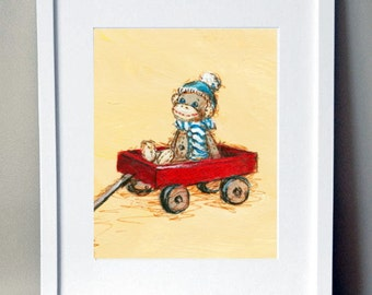 Sock Monkey Art, Nursery Art, Nursery Decor-   Sock monkey and red wagon: hand signed art print
